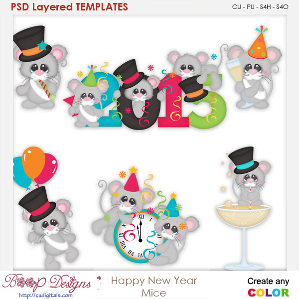 Happy New Year Mice Layered Element Templates