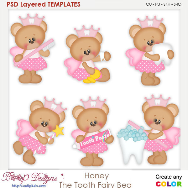 Honey the Tooth Fairy Layered Element Templates