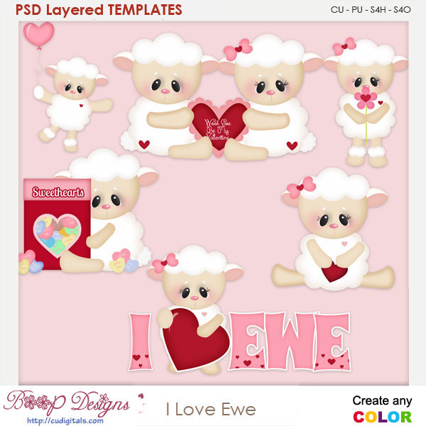 I Love Ewe Sheep Layered Element Templates