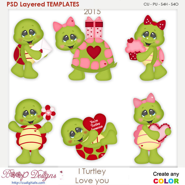 I Turtley Love You Turtles Layered Element Templates