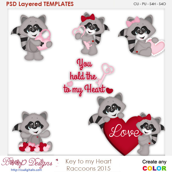 Key to My Heart Racoons Layered Element Templates
