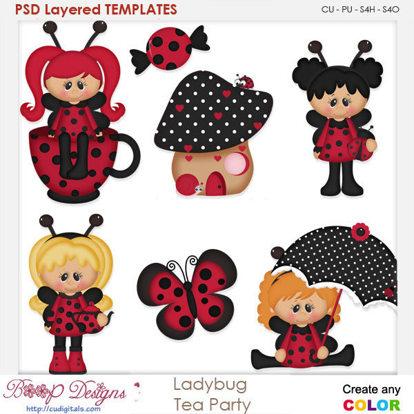 Ladybug Tea Party Layered Element Templates