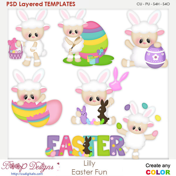Lilly Easter Fun Layered Element Templates