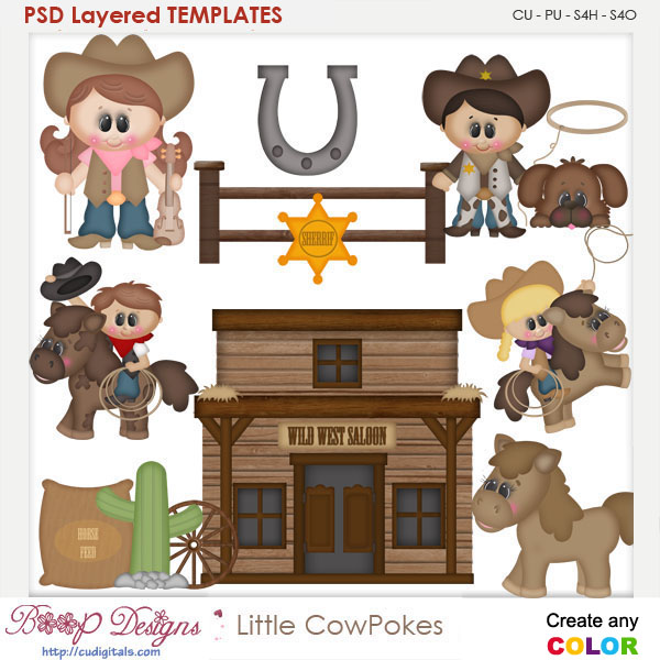 Little Cow Pokes Layered Element Templates