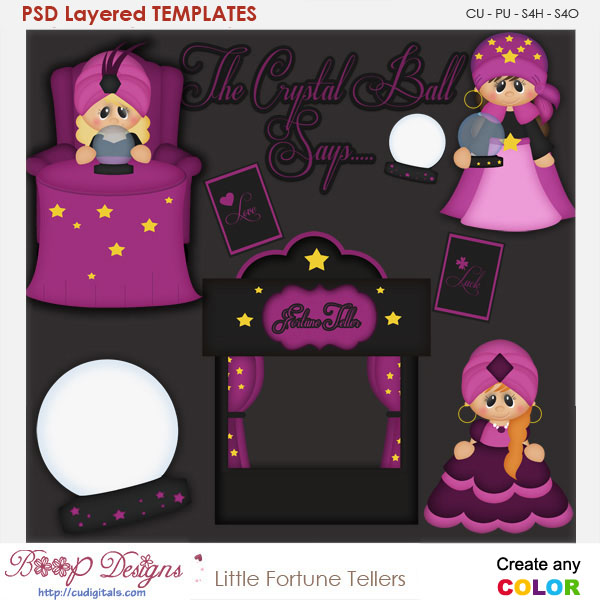 Little Fortune Tellers Layered Element Templates