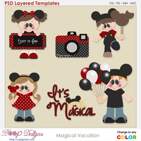 Magical Vacation Layered Element Templates
