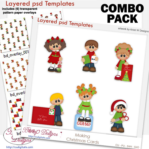 Kids Making Christmas Cards Layered Template COMBO Set