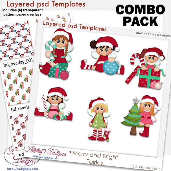 Merry Christmas Fairies Layered Template COMBO Set