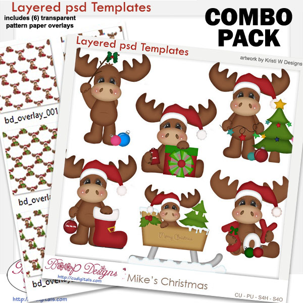 Mike's Moose Christmas Layered Template COMBO Set