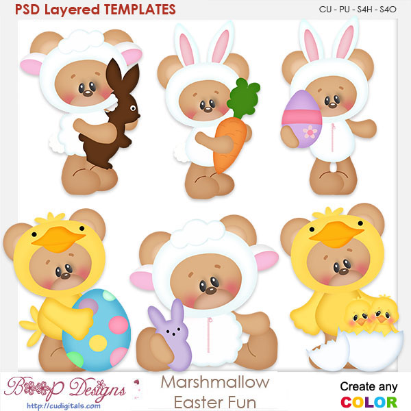 Marshmallow Bear Easter Fun Layered Element Templates