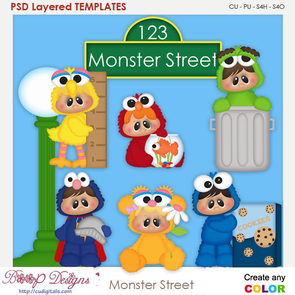 Monster Street Layered Element Templates