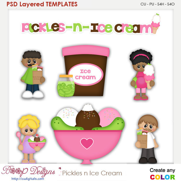 Pickles n Ice Cream Layered Element Templates