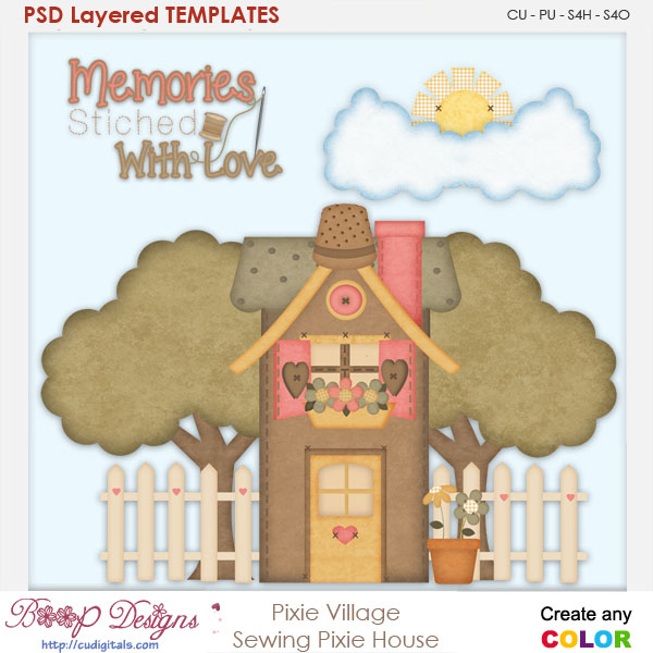 Pixie Village-Sewing Pixie House Layered Element Templates