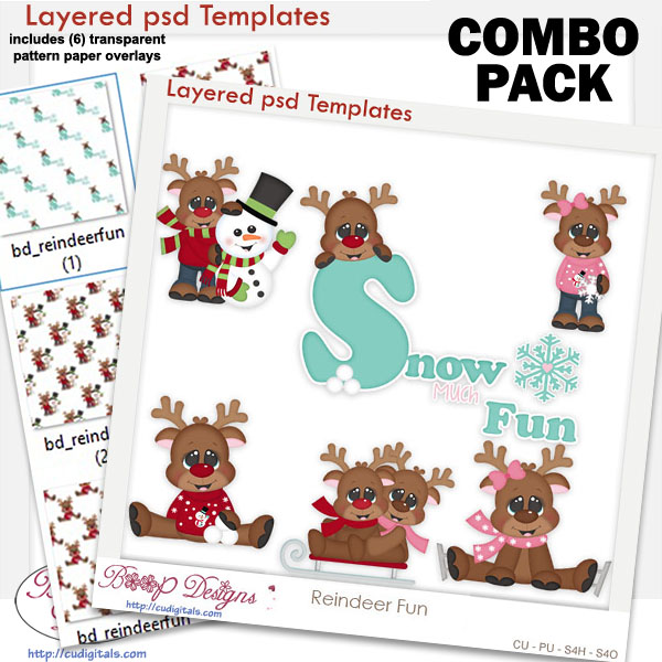 Reindeer Fun Layered Templates with Patterns COMBO Set