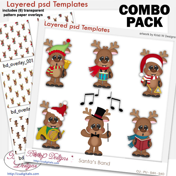 Santa's Band Layered Templates with Patterns COMBO Set