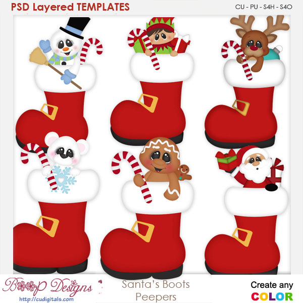 Santa's Boot Peepers Layered Element Templates