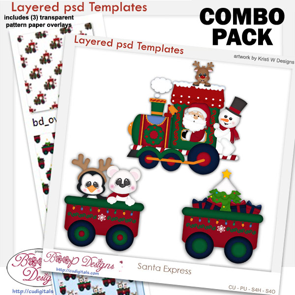 Santa Express Train 2 Layered Templates COMBO Set