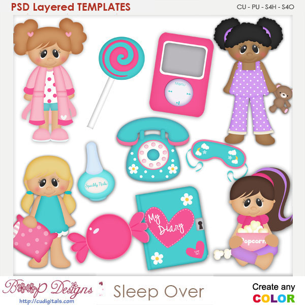 Girls Sleep Over Layered Element Templates