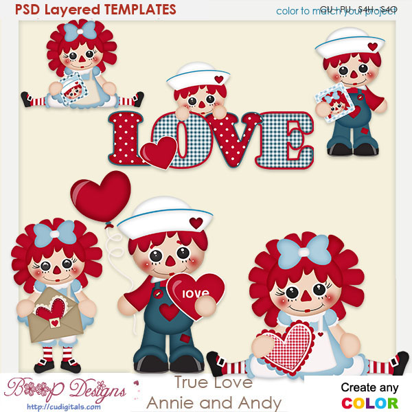 True Valentine Love Annie & Andy Layered Element Templates