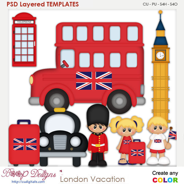 London Vacation Layered Element Templates