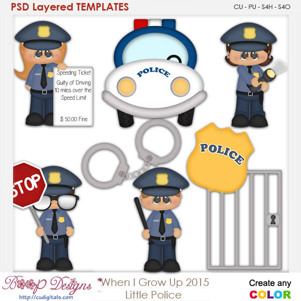 When I Grow Up Little Police Officer Layered Element Templates