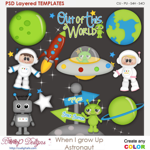 When I Grow Up Astronaut Layered Element Templates