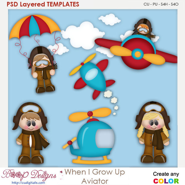 When I Grow Up Aviator Layered Element Templates