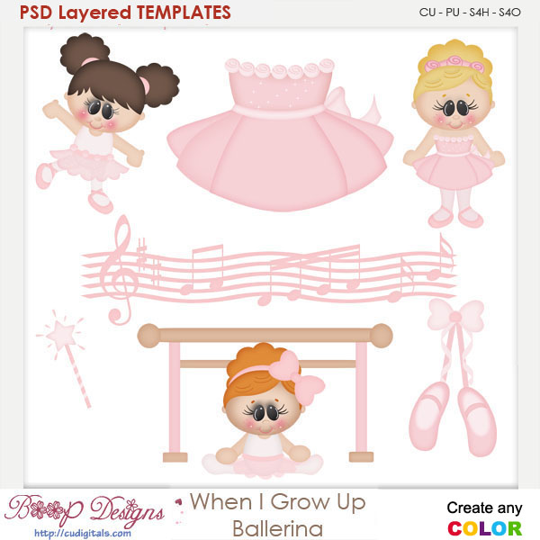 When I Grow Up Ballerina Layered Element Templates