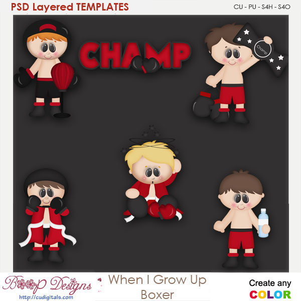 When I Grow Up Boxer Layered Element Templates