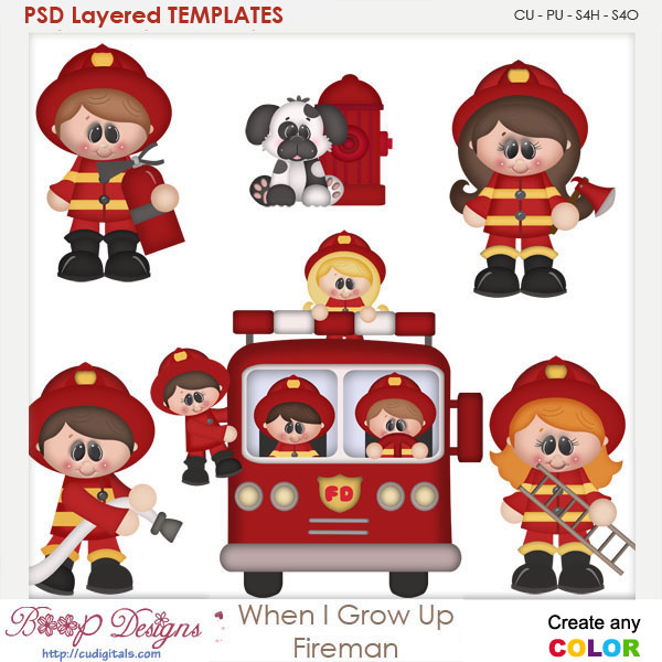 When I Grow Up Fireman Layered Element Templates