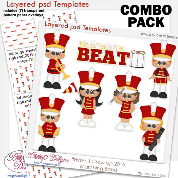 Marching Band Layered Templates & Overlays COMBO Set