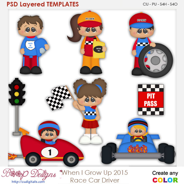 When I Grow Up Race Car Driver Layered Element Templates