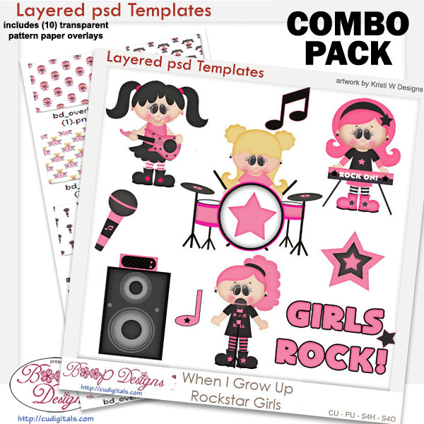 WIGU Rockstar Girls Layered Templates COMBO Set