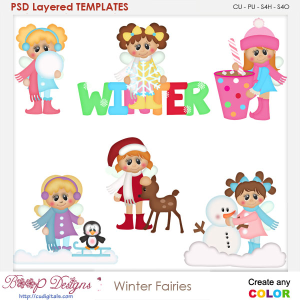 Winter Fairies Layered Element Templates