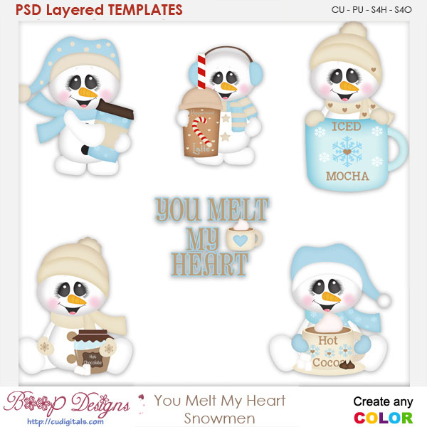 You Melt My Heart Snowmen Layered Element Templates