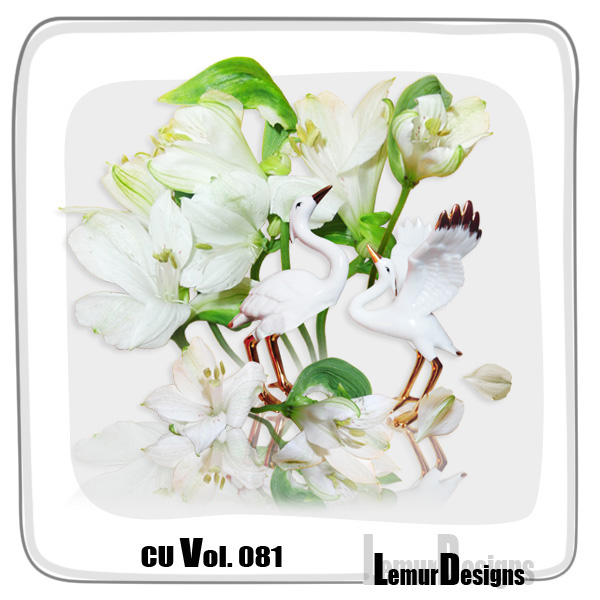 CU Vol 081 White Flowers Stork by Lemur Designs