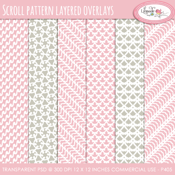 Scroll pattern overlays, layered PSD files