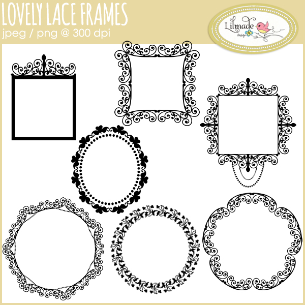 Lace Frame Clipart by Lilmade Designs