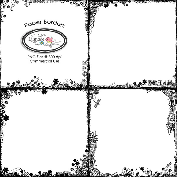 Paper Borders Overlays Lilmade Designs