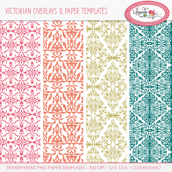 Victorian style digital scrapbook overlays and papers Lilmade Designs