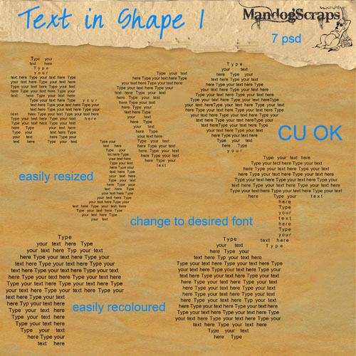 Text in Shapes 1 by Mandog Scraps