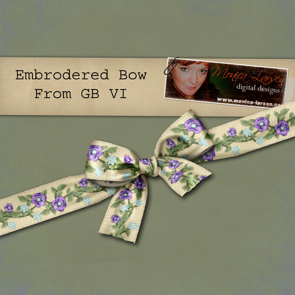 Embrodered Bow - action by Monica Larsen