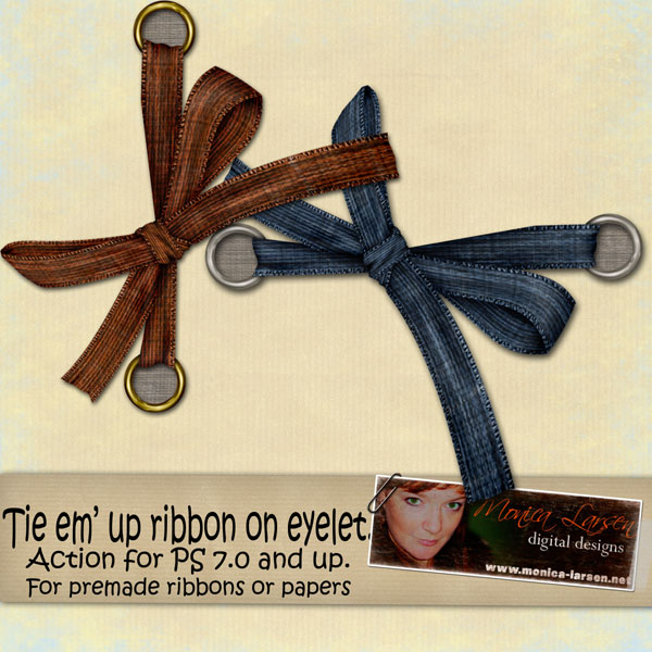 Tie em up Ribbon on eyelet ACTION by Monica Larsen