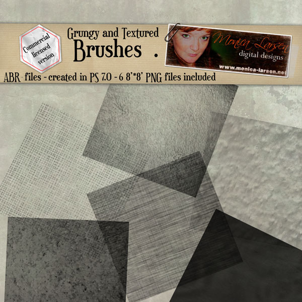 Grungy and Textured brushes by Monica Larsen