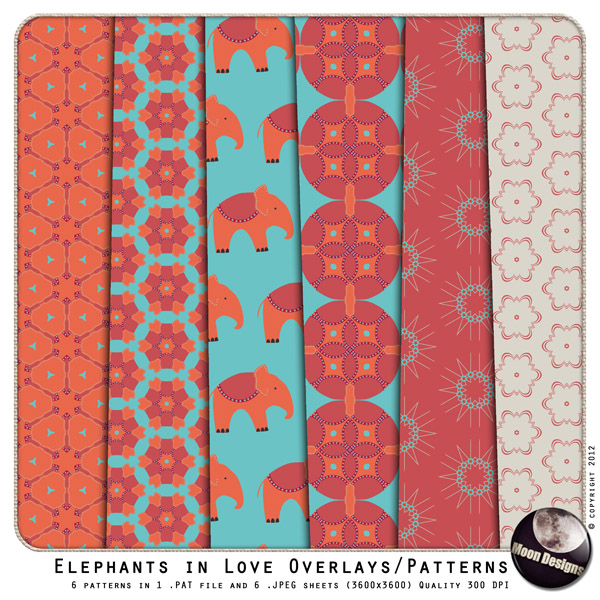 Elephants in Love Overlays & Patterns by MoonDesigns
