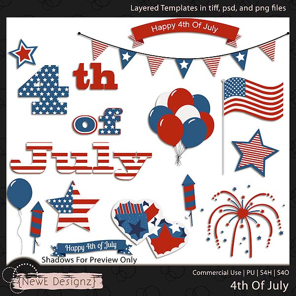 EXCLUSIVE Layered 4th Of July Templates by NewE Designz