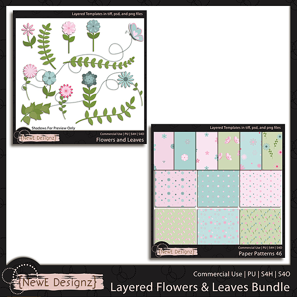 EXCLUSIVE Layered Flowers and Leaves Templates Bundle by NewE Designz