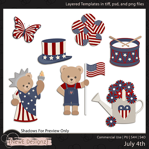 EXCLUSIVE Layered July 4th Templates By NewE Designz