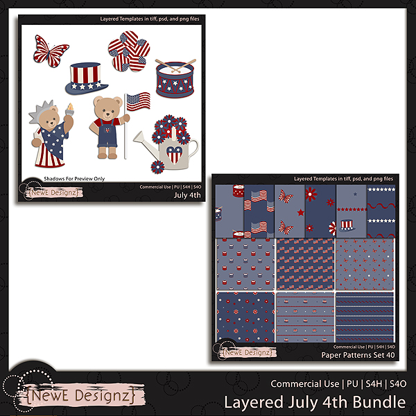 EXCLUSIVE Layered July 4th Bundle Templates by NewE Designz