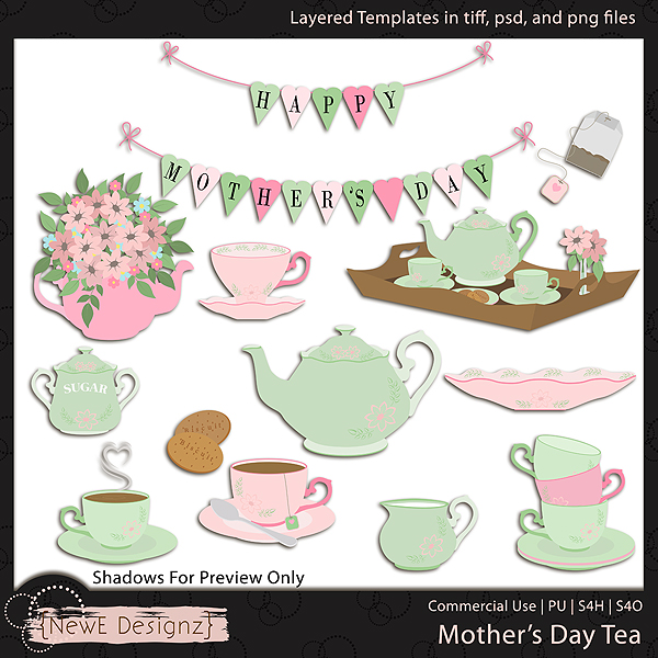 EXCLUSIVE Layered Mother's Day Tea Templates By NewE Designz